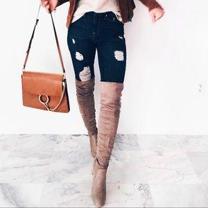 Good American Good Leg Ripped Skinny Jeans size 25